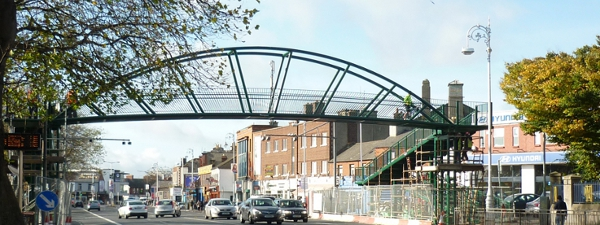 The new footbridge in place